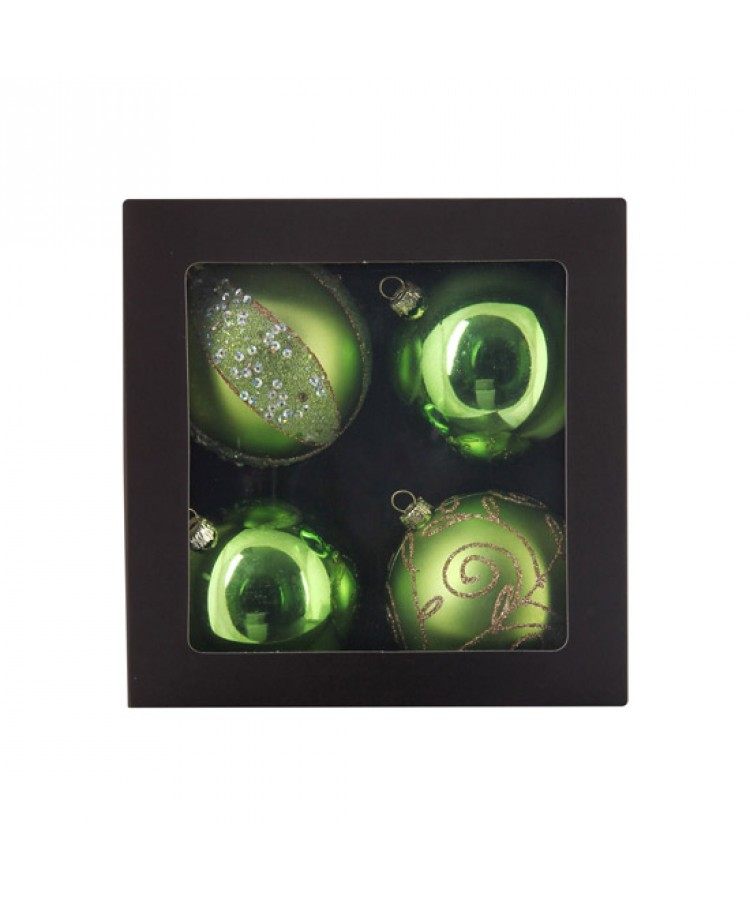 Selection of 7cm Baubles in green tones-1129
