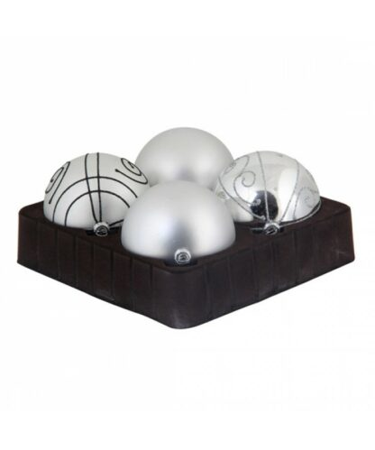 Selection of 8cm Baubles in silver tones-0