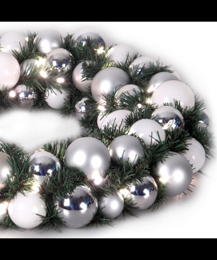 Luxury Wreath Bright Silver 75cm-1270